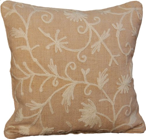 Manor Luxe Square Vine Collection Crewel Embroidered Burlap Decorative Pillow Feather Filled, 18-Inch, Natural (Crewel Pillows)