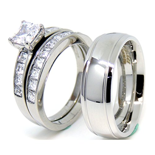 Lanyjewelry His Hers Couple Ring Set Womens Princess CZ Wedding Ring set Mens Dome Grooved Edge Band-Size W10M10 -