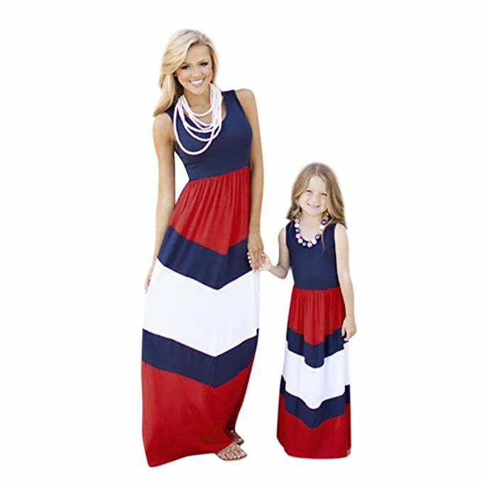 Mother or Daughter Summer Beach Sleeveless Striped Boho
