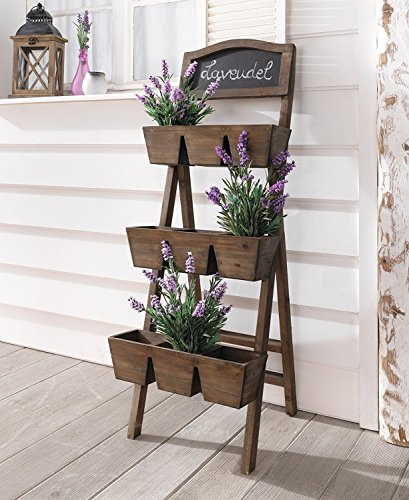 Wood Plant Stand / Flower Shelf for Outdoor or Greenhouse, Three Tiers Product SKU: GD221916 by PierSurplus