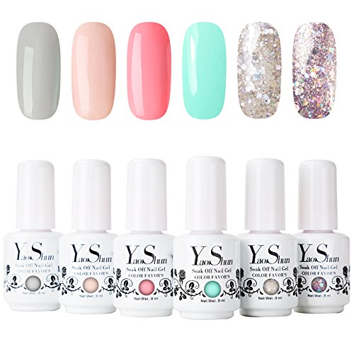Yaoshun Brand 8ml 6Pcs/lot Soak Off UV Led Gel Nail Polish C