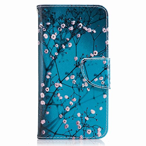 Yiizy LG K8 (2017) / X300 / M200N Custodia Cover, Fiore Plum Design Sottile Flip Portafoglio PU Pelle Cuoio Copertura Shell Case Slot Schede Cavalletto Stile Libro Bumper Protettivo Borsa