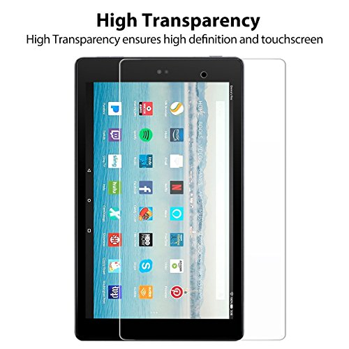 All-New Fire HD 10 Screen Protector,[2-Packs] Tempered Glass Screen Protector Film for All-New Fire HD 10 Tablet with 10.1 1080p (7th 2017 Release) [9H Hardness] [Crystal Clear] [Bubble Free]