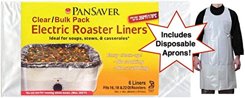 Pansaver Electric Roaster Oven Liners, 3 Box Bundle (6 Liners). Fits 16,18 & 22 Quart Roasters. Includes 3 FREE Superior Individually Wrapped Aprons.
