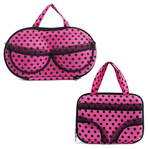 Ikee Design Portable Pink Polka Dot Travel Bra Case & Underwear Case Travel Bag, Travel Packing Cubes, Luggage Organizers 2 Pieces Set Perfect for Suitcase, Backpack and More