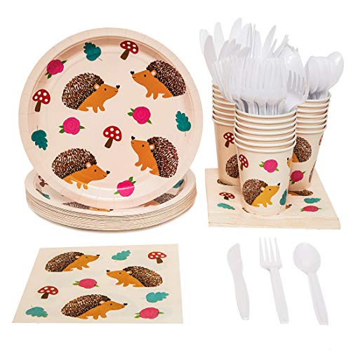 Blue Panda Hedgehog Birthday Party Supplies Pack - Serves 24 - Includes Knives, Spoons, Forks, Plates, Napkins, and Cups