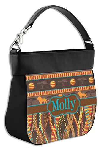 Elephants Purse Front amp; Lions Personalized Hobo Leather Trim African w Genuine Sxp1aq