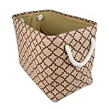 DII CAMZ36628 Collapsible Burlap Storage Basket Or Bin with Durable Cotton Handles, Home Organizational Solution for Office, Bedroom, Closet, Toys, Laundry, Medium