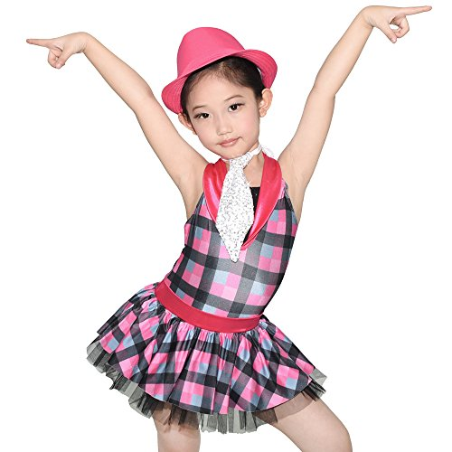 Dance Costumes Tap Dress (MiDee Tap & Jazz Dress Dance Costume Contrast Collar Chequer Skirt (LC, Fuchsia))