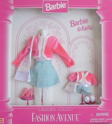 BARBIE & KELLY Fashion Avenue MATCHIN' STYLES FASHIONS Clothes w Matching PINK & AQUA Outfits (1996) (Aqua Barbie Shoes)