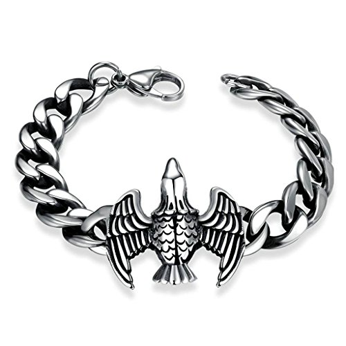 80s Male Icons Costume (Stainless Steel Bracelet, Men's Charm Bracelet Eagle Shape Silver Epinki)