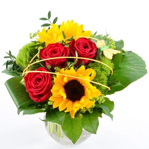 Blumenversand - Blumenstrauß Sommerfreude - zum Geburtstag - mit Sonnenblumen - mit Gratis - Grußkarte zum Wunschtermin versenden