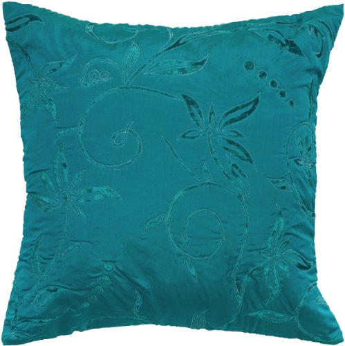 Rizzy Home T05073 Burn Out Patterns Decorative Pillow, 18 by 18-Inch, Teal - Burnout Velvet Throw