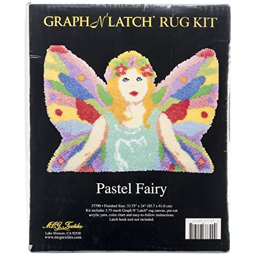 M C G Textiles Latch Hook Kit Shaped, 33.75-Inch by 24-Inch, Pastel Fairy