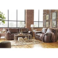 Islebrook Contemporary Leather Canyon Color Sofa And Loveseat