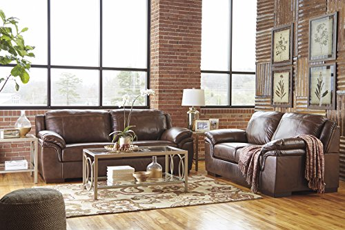 Islebrook Contemporary Leather Canyon Color Sofa And