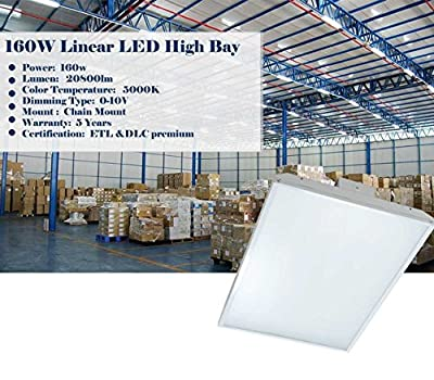 160w- 2FT linear LED High Bay Shop Light Fixture-20800 Lumen,(400W Eq.) CCT 5000K, with ETL & DLC Certified-commercial grade indoor warehouse industrial area light fixture