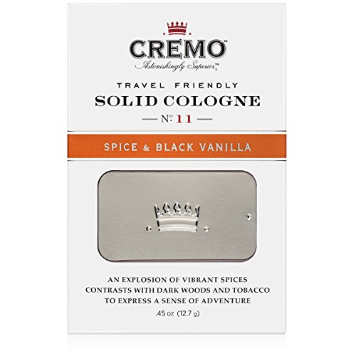 Cremo Solid Cologne That Fits In Your Pocket So You Can Apply Discreetly - Spice & Black Vanilla.45 Ounce Tin