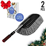 CHRISTMAS GIFT 2 pcs Microfiber Multipurpose 15.7 inch Car Duster for Vehicle Interior Exterior with Stainless Steel Retractable Handle to Trap Dust and Pollen for Car Bike RV Boats or Home, Grey
