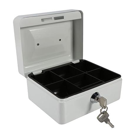 Caja fuerte portátil Cajas de caudales Caja de dinero pequeña con cerradura de llave, caja