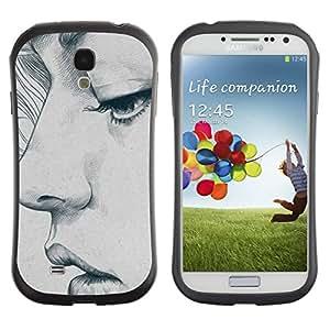 Suave TPU GEL Carcasa Funda Silicona Blando Estuche Caso de protección (para) Samsung Galaxy S4 I9500 / CECELL Phone case / / portrait woman art sketch depression /