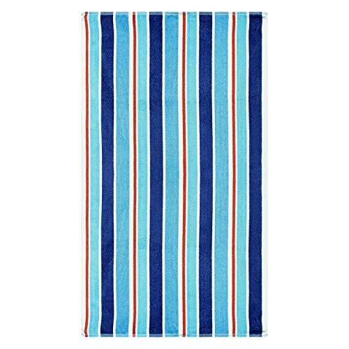 Superior 100% Cotton Luxury Beach Towels - Oversized Beach Towel, 450 GSM Swim Towel, Red, White, Blue Ocean Stripes (34