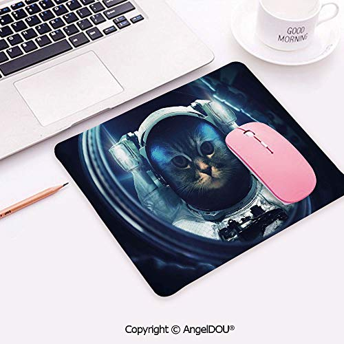 Personality Desings Anti-Slip Game Mousepad Kitty in Space Suit Loking from Rocket in Galactic Space Orbit Artwork for Computers Laptop Student Office