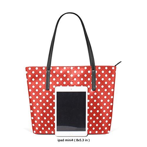 COOSUN White Polka Dots auf rotem Hintergrund PU Leder Schultertasche Handtasche und Handtaschen Tote Bag für Frauen