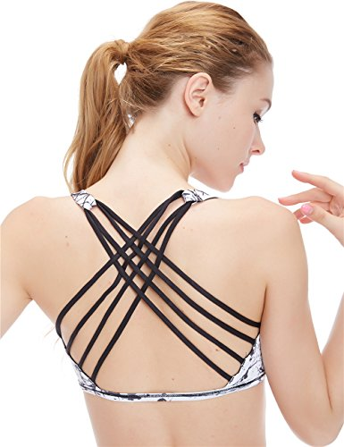 Icyzone Women's Workout Yoga Clothes Strappy Crisscross Racerback Sports Bras,Chinese Ink,Small