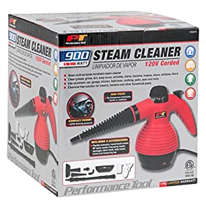 Performance Tool W50079 Red/Black 900W Handheld Steam Cleaner