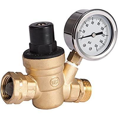 SAIDE Water Pressure Regulator Valve, Brass Lead free NH Connector Adjustable Water Pressure Reducer Valve for RV travel trailer camper with oil Gauge and inlet screened filter by SAIDE