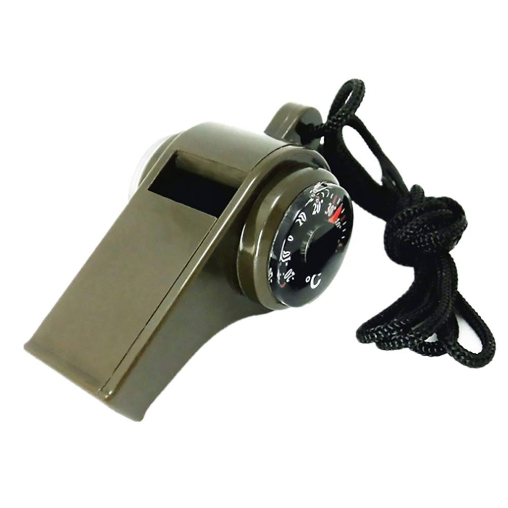 Domccy Outdoor Multi-Function Whistle, Plastic Whistle Contain Compass, Temperature Display and Whistle 3 in 1 Emergency Whistle Contain Compass, Temperature Display and Whistle