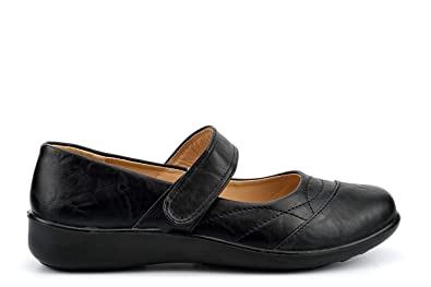 Mens Black Comfort Fit Shoes Easy Wear Touch Fastening Dr Lightfoot