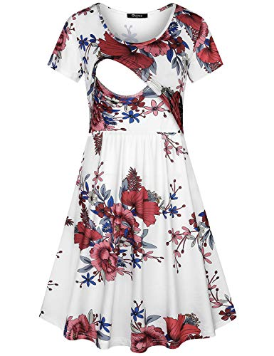 - Quinee Maternity Clothes, Women Crew Neck Casual Tunics for Nusring Mother Above Knee Length Printed Post Partum Pregnancy Flare Nursing Dress for Breastfeeding White Floral XXL