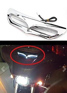 Qlhshop Fairing Cover LED Lighted Intake Trim Vent Accent For Harley Electra Glide 2014-2017 black