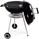 22.5'' Charcoal Grill Enamel Lid 2 Bottom Storage Wire Rack Wheels Kettle Style Design Outdoor Garden Patio Backyard Yard BBQ Barbecue Cooking Grilling Durable Sturdy Steel Frame Removable Ash Catcher