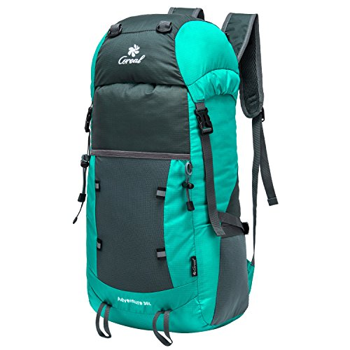 Coreal 35L Lightweight Foldable Travel Hiking Backpack Cyan