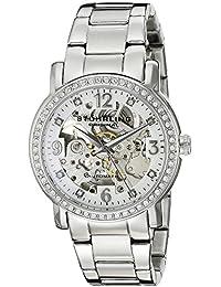 Stuhrling Original Women's 531L.11112 Classic Delphi Canterbury Automatic Skeleton Swarovski Crystal Accented Silver Dial Watch