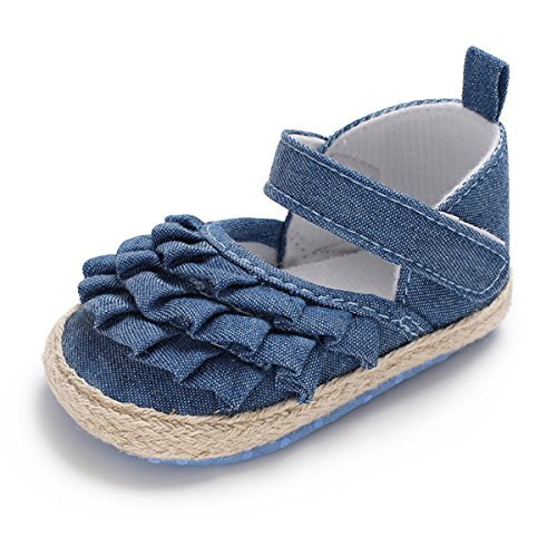 BENHERO Baby Sandals for Girls Bowknot Canvas Floral Mary Jane Flat Summer Shoes(11cm(0-8 Months),A-Jeans) ()