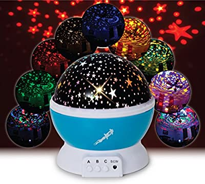 BELUN Kids Night Light for Girls, Boys, Babies, Toddlers, 4 LED Bulbs Moon Star Projector Night Light Lamp for Kids Bedroom, Nursery -BONUS Wall Charger, 4.9 ft USB cable, Best Gift Idea Ever (Blue)