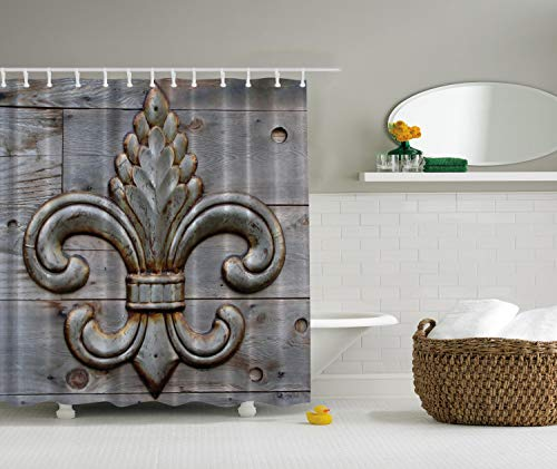 Ambesonne Fleur De Lis Shower Curtain Home Antiques Decor, Peacock Flower Lily Rusty Antiqued Wood Silver Medieval Door Bell French Saints Symbol Rustic for Bathroom Fabric Shower Curtain, Charcoal -