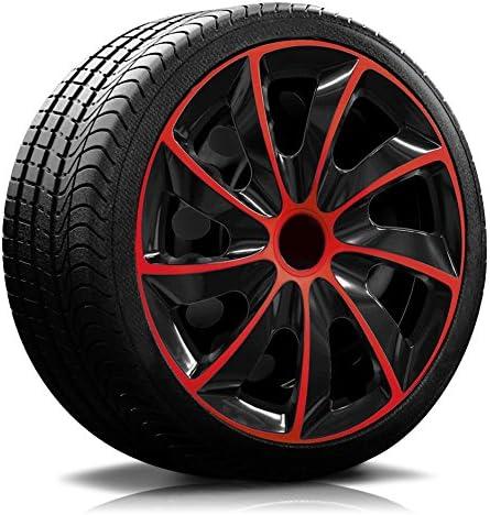 Rkk02 Multi Colour Line Black Red Wheel Trims Hub Caps 4 Pieces Black Red Auto