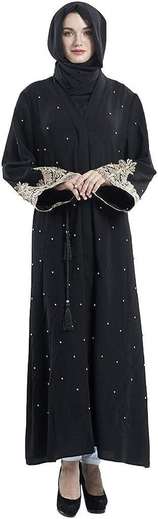Randolly Womens Dresses,Dubai Islamic Women Open Kaftan Abaya Muslim Cardigan Jilbab Maxi Dress Clothing