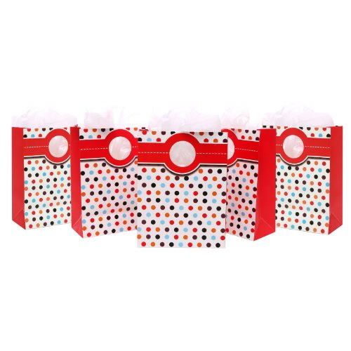 Set of 5 Medium Polka Dots Retro Party Gift Bags and Tissues for Wedding, Graduation & Birthday
