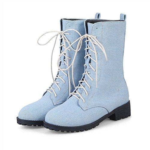 Agodor Womens Flat Lace Up Platform Mid Calf Denim Boots Classic Cowboy Shoes Light-blue gG8yw
