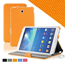 KHOMO ® Slim Folio Cover Case Orange With Hand Strap for Samsung Galaxy Tab 3 7.0'' Tablet (GT-P3200 / 3210)