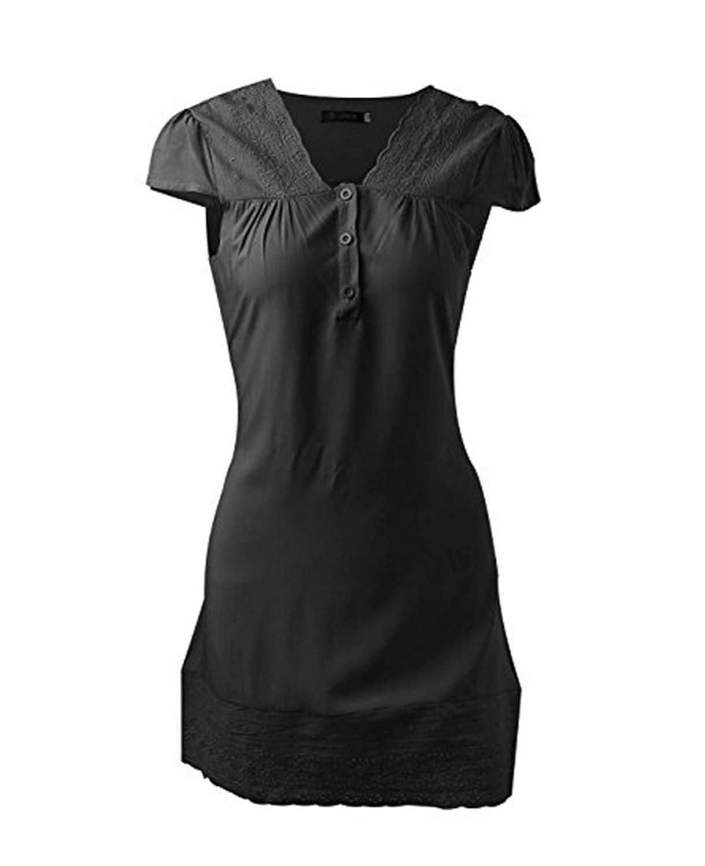 Damen Kleider Sommer Elegant Spitze Schwarz Kurz Partykleider Von ...