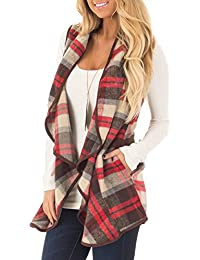 Women's Lapel Open Front Sleeveless Plaid Vest Cardigan Sweater Coat