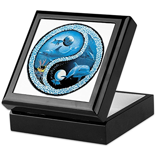 Keepsake Box Black Dolphin Fish Ocean Yin Yang Symbol