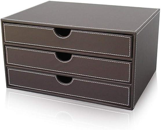 Elise Archivador, Cajón Horizontal gabinete Comentarios 3 cajones 3 Capas Caja de Almacenamiento Organizador portadocumentos de Cuero, Brown (Color : Brown): Amazon.es: Hogar